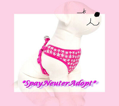 Hot Pink White Daisies Flowers Comfort Dog Harness Dog Vest  S