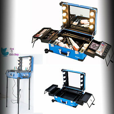 Makeup Case Table Studio Light Professional Artist Cosmetic Train Rolling Wheels