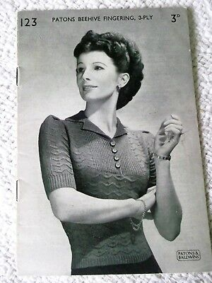 ORIGINAL, VINTAGE, 1940's,  PATON'S KNITTING PATTERN,  No.123, LADY'S JUMPER.