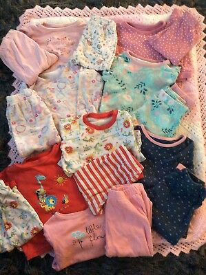 baby girls clothes pyjamas multi colour 6-9 12-18 18-24 months