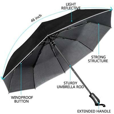 Automatic Travel Compact Umbrella Windproof Anti UV Sun Rain Strong Handle