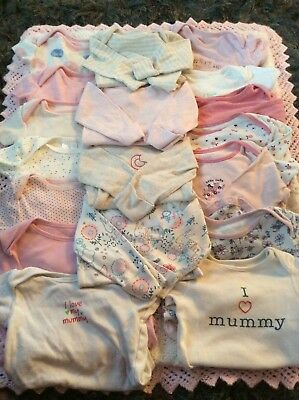 baby girls clothes 30+ item bundle sleepsuits vests bibs 3-6 6-9 9-12 months.