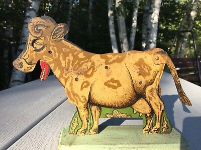 Antique Vintage Tin Litho Articulating Cow Country Store Display