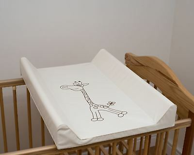 Baby Hard Base Changing Mat Cot Cot Bed Top Changer Unit - Giraffe Cream