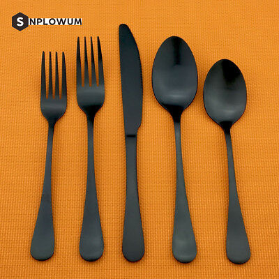 Matte Black Cutlery Stainless Steel Flatware Silverware Fork Tea Spoon Knife