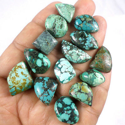 121.10 Ct/14Pcs Natural Arizona Bi-Color Turquoise Cabochon Gems Lot For Jewelry