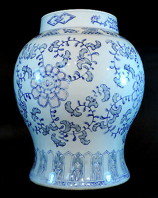 Large Oriental Blue And White Jar