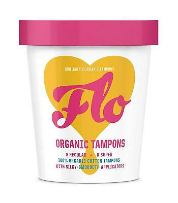 Here We Flo Organic Tampons 14-Piece (8 Regular + 6 Super Strength)
