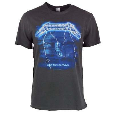Amplified Mens Metallica Ride The Lightning Vintage Rock T Shirt Charcoal NEW