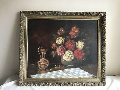 Large!Original oil painting on canvas framed vintage still life flowers Signed