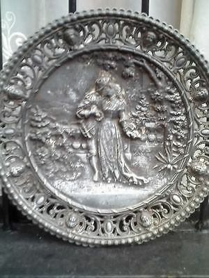 Antique pewter?.spelter? Wall mounted charger plate plaque romantic lover scene