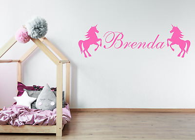 Personalised Name Wall Sticker With Unicorns, Wall Art For Girls Bedrooms AG02