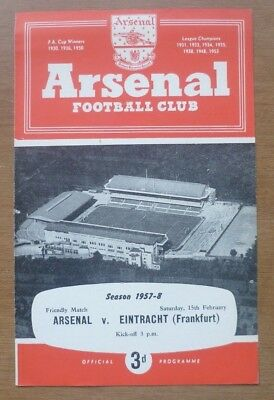 Arsenal v Eintracht Frankfurt, 15/02/1958 - Friendly Match Programme.
