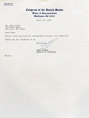 FRED GRANDY Signed LETTER on U.S. HOUSE of REPRESENTATIVES Letterhead