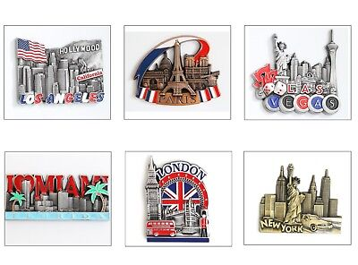 Metal Fridge Magnet Souvenir - LA - London - Miami - Paris - Europe & Others