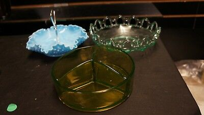 Lot Of 3 Dishes Fenton Carnival Glass Hobnail Blue Aqua Green Candy Nuts