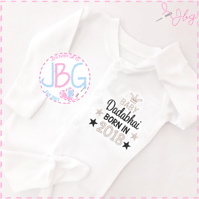 Personalised Baby Unisex Sleepsuit,Born 2018 Clothes/Onsie, New baby gift