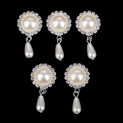 5x Round Pearl Rhinestone Buttons Embellishments Jewelry Making Accessories