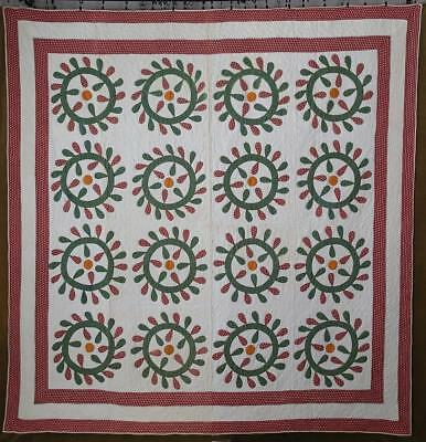 Sensational c1860 Turkey Red Antique Applique Star & Wreath Quilt 84x81
