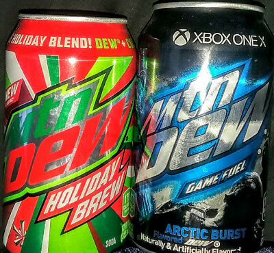 (2) TWO ✰✰ HOLIDAY BREW ✰✰  ARCTIC BURST LIMITED 2017 Mountain Dew FULL CANS