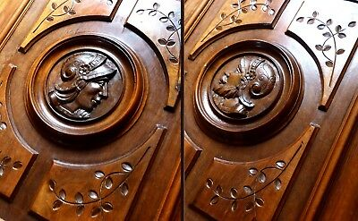 Pair of Antique French Carved Wood , Figural Door Panels  Knight Face Pediment.