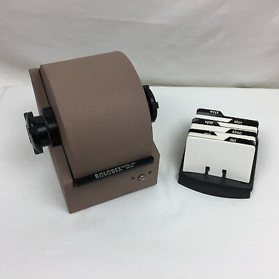 Vintage Metal ROLODEX Model 2254D Brown With Dividers and Cards No Key