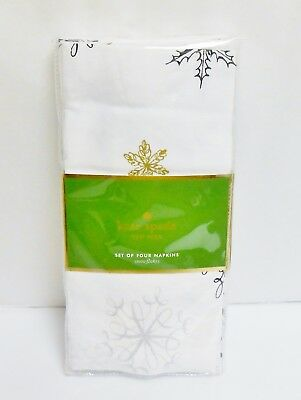 "Kate Spade New York ""Snowflakes"" Set of 4 Christmas Cloth Napkins 20"" x 20"""