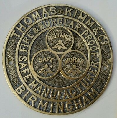 Vintage Thomas Kimm & Co, Birmingham. Brass Safe Plaque With Key Hole Cover.