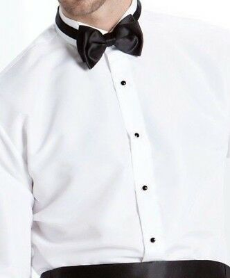 White Wing Plain front Microfiber Tuxedo Shirt Prom Tux Choose Size   TUXXMAN