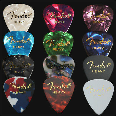 12 x Heavy Fender Celluloid Guitar Picks / Plectrums - 1 Of Each Colour