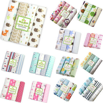 NEW Color 4pcs/Pack 100%Cotton Flannel Receiving Baby Blanket Newborn Colorful