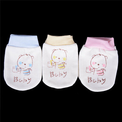Newborn Boys Girls Infant Soft Cotton Handguard Anti Scratch Mittens Gloves FG