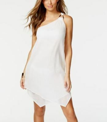 MICHAEL KORS Gauze Cotton Cover-up Cotton Layered One Shoulder Dress 4 6 Small
