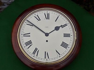 #034 Antique Mahogany Smiths Enfield Station/office Wall Clock 8-Day Movement