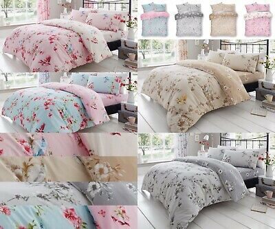 Blossom Printed Duvet Quilt Cover With Pillowcases Set Size Single Double King