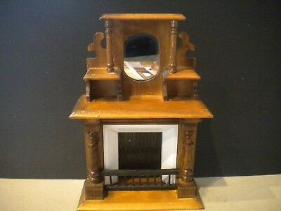 Dollhouse Miniature Victorian Fireplace with Mirror & Shelves