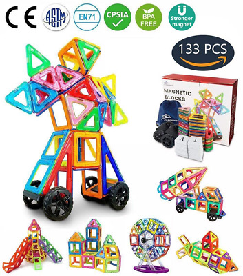 133 Pcs Magnetic Building Blocks Tile Set Preschool Educational Construction Kit