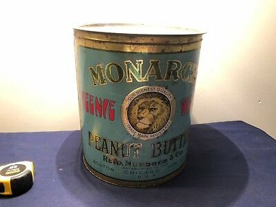 Vintage Large Monarch Teenie Weenie Peanut Butter Tin Litho Can   Rare 55Lbs