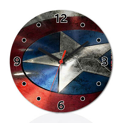Captain America Shield Super Hero Wall Clock Home Office Room Decor Gift