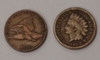 1858 Flying Eagle Cent & 1863 Indian Head Cent