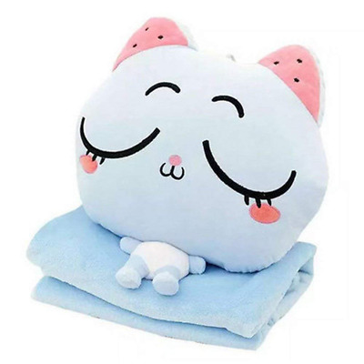 Pillow Blanket Plush Cat Stuffed Toys Throw & Set with Hand Warmer Design(Blue)