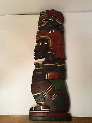 Aztec Mayan Mexico Wood Carved Totem Panel Mask Auction Finds 702