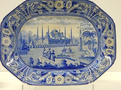 HUGE Antique 1820s 30s Historical Blue Staffordshire Transferware Platter