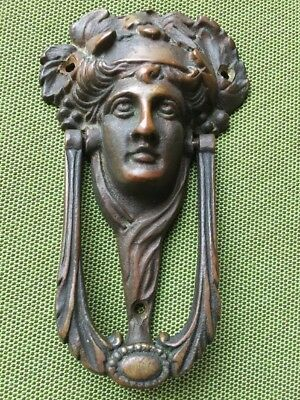 Antique Art Nouveau Old Brass Figural Athena Door Knocker Door Hardware