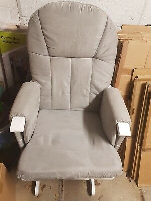 Mothercare Glider Chair and foot stool - White with grey cushion