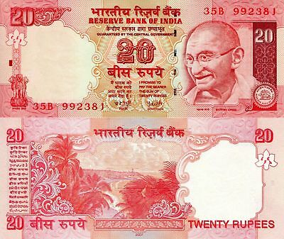 INDIA 20 Rupees Banknote World Paper Money Uncirculated Currency Gandhi Bill