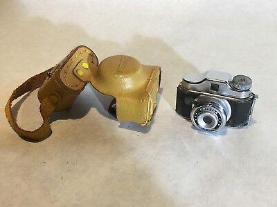 "Vtg Miniature Mini Crystar Camera w/ Leather Case Japan 2 1/8"" Wide"