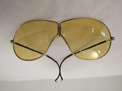 Vintage 1910s sunglasses yellow driving glasses shooters hinged autoglass