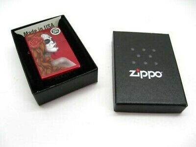 Zippo Candy Apple Red Day Of The Dead Girl Classic Windproof Lighter 28830