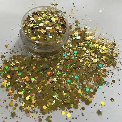 GOLD STAR HOLOGRAPHIC chunky bling FESTIVAL FACE BODY NAIL ART glitter mix 10g